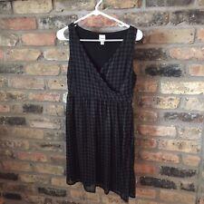Merona Women's  SZ XS Black/Gray Dress- Zip  under Arm- Lined with Sheer Overlay