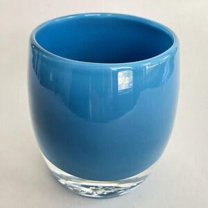 "Glassybaby ""Calm Sea"" Blue Votive Candle Holder  3.5"""