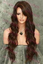 Dark Brown/Auburn Mix Long Wavy Lace Front Heat Safe Synthetic Wig SALA 4/30