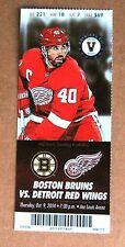 Red Wings Henrik Zetterberg Wings Game ticket stub Oct 9, 2014 $69 face value