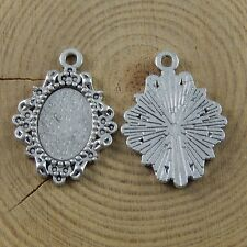 40 pcs Antiqued Silver Alloy Lace Floral Charms Pendant Trays 14x10mm Cameo Base