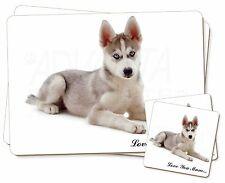 Siberian Husky Dog 'Love You Mum' Twin 2x Placemats+2x Coasters Set, AD-H54lymPC