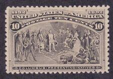 US 237 Mint OG LH 1893 10¢ Black Brown Columbian Columbus Issue Scv $125.00