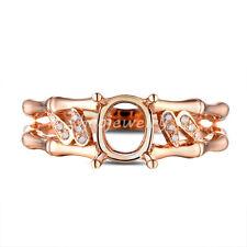 5.5x6.5mm Oval Cut 18K Rose Gold Bamboo Shape Natural Diamond Semi Mount Ring