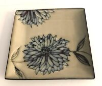 "Pier 1 Imports Chrysanthemum Dinner Plates Square 10 3/8"" Across Floral Lot of 2"