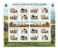 Mongolia WWF Przewalski's Horse Sheetlet of 4 sets MNH