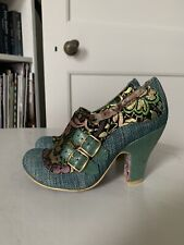 Irregular Choice Iconic gold Green brocade shoes Heels size 3 4 36 37 Buckles