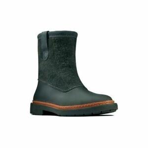 Clarks Trace Fern Dark Grey Combi Leather Women's Boots Size UK 7D