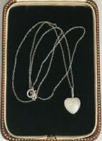 """925 Sterling Silver Heart Glass Pendant Chain Necklace 18"""" 46cm  (D1S)"""