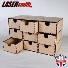 9 NINE DRAWER PLAIN WOOD WOODEN BOX, STORAGE CUPBOARD, CHEST OF DRAWERS