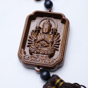 Warrior Good Luck Buddha Pendant Wooden Charm