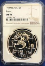 China 1989 1 oz 10 Yuan Silver Panda Ngc Ms68 Sn:2099393-#