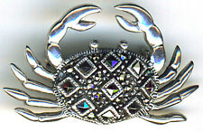 """925 Sterling Silver Marcasite Crab Brooch / Pin 38mm  1.1/2"""" width"""