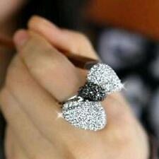 Trendy Fashion Crystal Bow-Tie Adjustable Ring For Women Jewelry Silver Plated