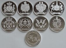 8 ONE OZ HW MINTING HERALDRY MINT .999 SILVER COINS SET ~ALL DESIGNS~ SET of 8