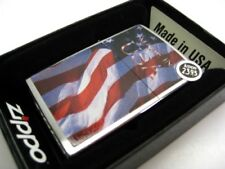 ZIPPO Brushed Chrome MADE IN USA American Flag Classic Windproof Lighter! 24797