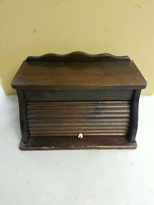 Vintage Wooden Bread Box Country Farm House Kitchen