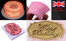 Happy Birthday Silicone Mould Cake Decorating Lace Impression Mat Baking Mold