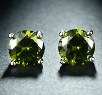 2CT Green Peridot Created Genuine Birthstone Earring in 18K White Gold ITALY