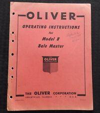 Tôt 1950's Oliver Modèle 8 Bale Maître Baler Opérateurs Manuel Très Bon