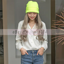 """Hat with Hair Weft for Women 20"""" Long Hairpieces Synthetic Natural Fashion 50cm"""