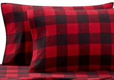 Buffalo Plaid King Pillowcases Heavyweight Flannel in Red Black set of 2 NEW