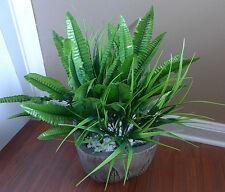 4 Artificial Grass Bush Fern Leaves Lifelike Plants Home Garden Decor