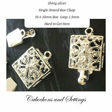 10 x  Box Clasps Alloy Silver-Plated 10mm Filigree Square Seed Beading Clasps