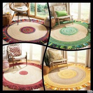 Rug 100% Natural Jute & Cotton Bohemian Reversible rustic look area carpet rugs