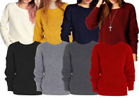 New Womens Ladies PLUS SIZE Long Sleeve Plain Knitted Fishnet Jumpers Sweater
