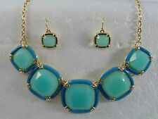 WOMANS FASHION JEWELRY GREEN COLOR NECKLACE & EARRINGS US A SET