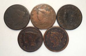 Lot of 5 - 1826-1848 - Coronet Head - Braided Hair - Large Cents