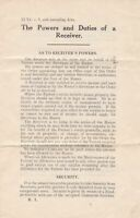 THE POWERS AND DUTIES OF A RECEIVER - Welfare, Accounts, Etc Leaflet Ref 48331