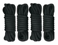 4 Set 1/2 Inch 20Feet Nylon Dock Line,Mooring Rope Double Braided Tow Rope Black