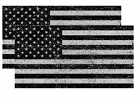 x2 Distressed American Flag Sticker Decal Subdued USA Grunge Black And Gray 4""
