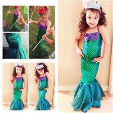 Kids Ariel Little Mermaid Set Girl Princess Dress Party Cosplay Costume PQ