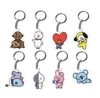 Kpop BTS BT21 Bangtan Boys Cute Key Chain TATA COOKY RJ SHOOKY Acrylic Keyring