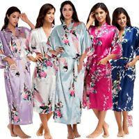 Womens Floral Silk Satin Robe Kimono Belted Dress Gown Wedding Bridal Bridesmaid