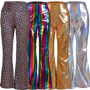 70s Rainbow Gold Silver Sequin Metallic Flares Trousers Festival Fancy Dress