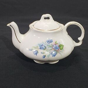 Wood and Sons England Alpine White Ironstone Teapot Blue Floral w Lid