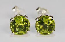 BRILLIANT!  GENUINE NATURAL MINED GREEN PERIDOT EARRINGS~STERLING SILVER~7MM