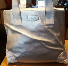Carlos Falchi purse white medium leather and patent leather 2 compartments
