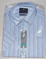 "NEW MENS GENTS SHORT SLEEVED STRIPED SHIRT Ex M&S Collection. SIZE 15"" COLLAR"