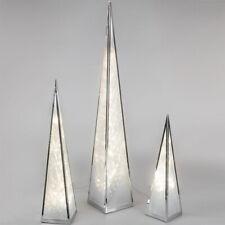 Formano Pyramide Deko LED Licht Metall Weihnachten NEU silber weiss Stern Folie