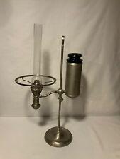 Manhattan Perfection kerosene oil student lamp 7� green glass tank pat 11/22/81