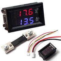 DC100V 10A/50A/100A Voltmeter Ammeter LED Dual Digital Volt Amp Meter Gauge New~