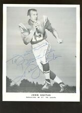 Johnny Unitas Baltimore Colts Team Issued 8 X 10 Photo Autographed Hologram