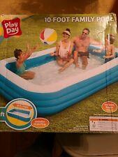 10Ft Rectangular Inflatable Family Kids Swimming Pool Play Day Fun Outdoor