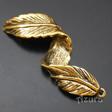 Large Antique Gold Alloy Vintage Style Curled Leaf Pendant Finding 44x14x8mm