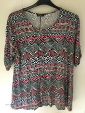 PINK BLUE AZTEC STRIPED TUNIC TOP SIZE 20/22